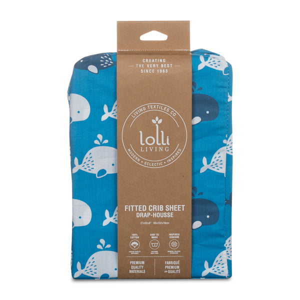 Blue Whale Mod Crib Fitted Sheet | Lolli Living