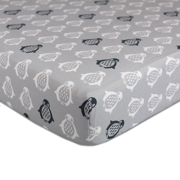 Mod Grey Penguin Crib Fitted Sheet | Lolli Living | Living Textiles Co.