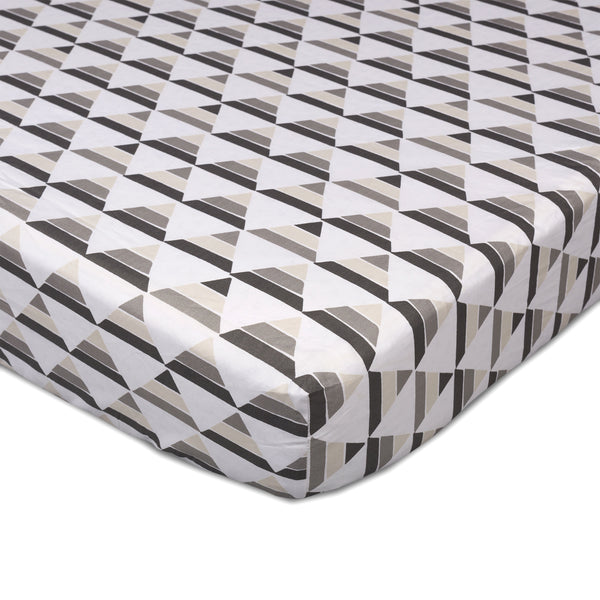 Mod Grey Penguin Triangle Crib Fitted Sheet | Lolli Living | Living Textiles Co.