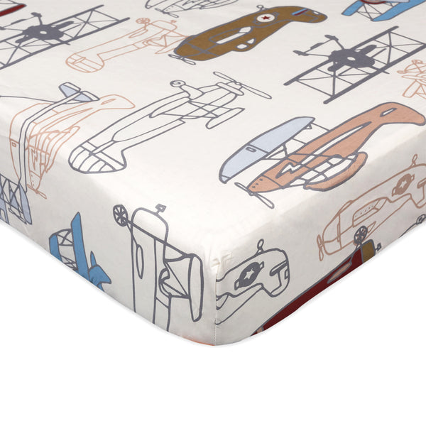 Aeroplanes Crib Fitted Sheet - Aeroplanes Print
