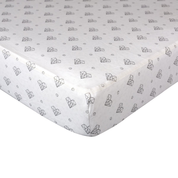 Fitted Sheet - Paper Hearts - Living Textiles Co.