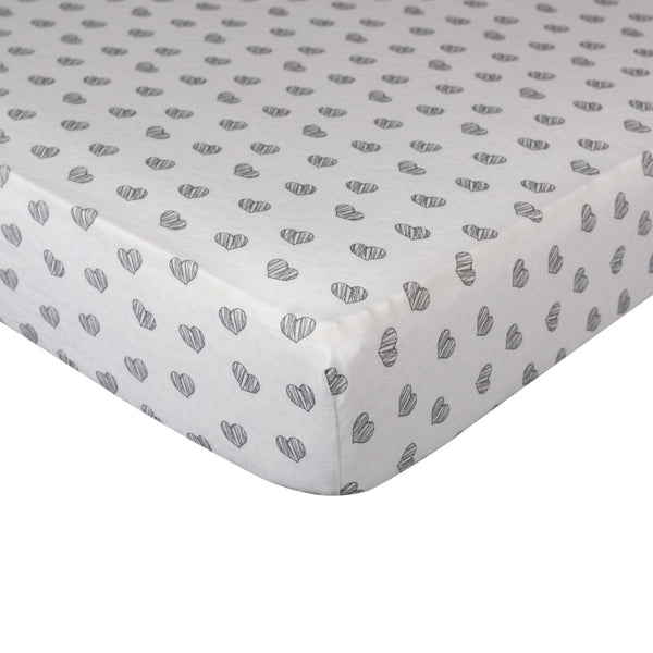 Fitted Sheet - Sketched Hearts - Living Textiles Co.