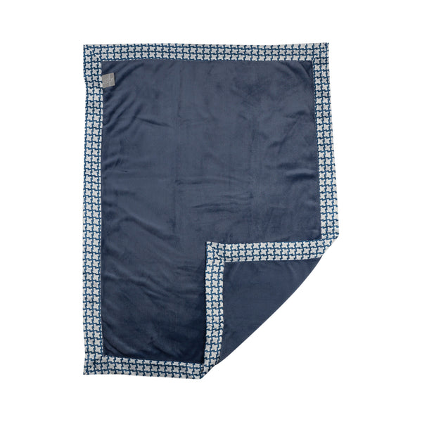 Boa Blanket - Navy Houndstooth - Living Textiles Co.