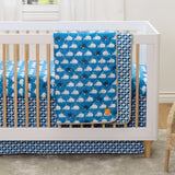 Crib Bed Skirt - Navy Leaves