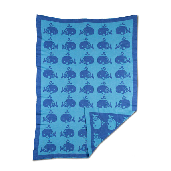 Mod Blue Whale Knitted Blanket | Lolli Living | Living Textiles Co.