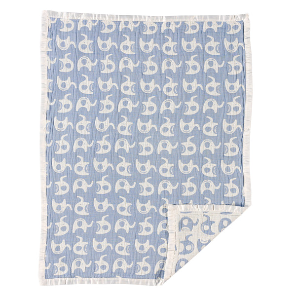 Muslin Jacquard Blanket - Blue Elephant - Living Textiles Co.