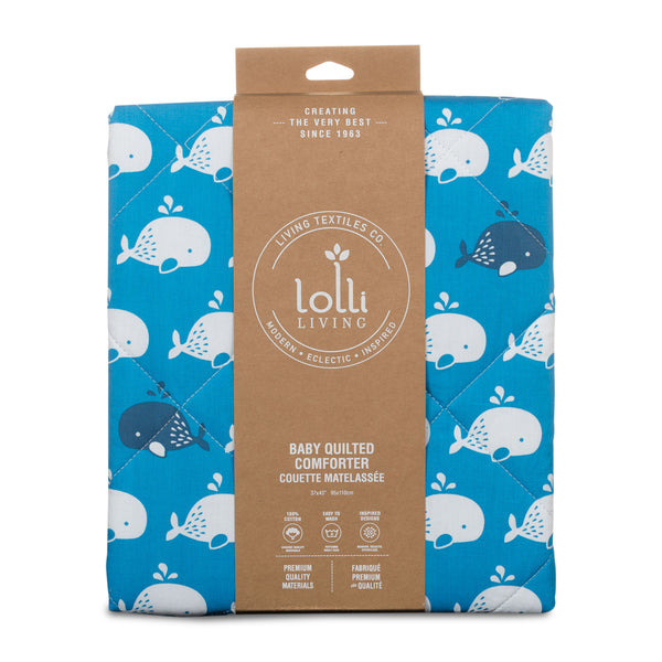 Blue Whale Mod Baby Crib Quilted Comforter | Lolli Living