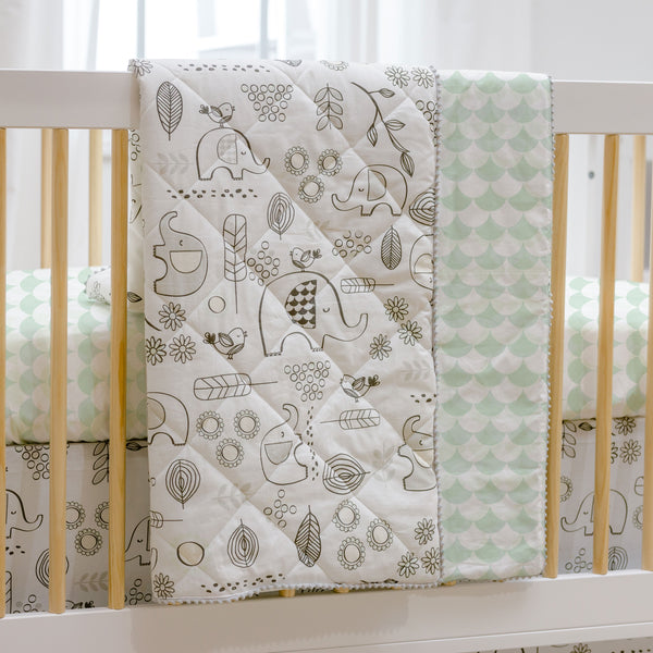 Baby / Toddler Quilted Comforter - Kayden Elle Elephant - Living Textiles Co.