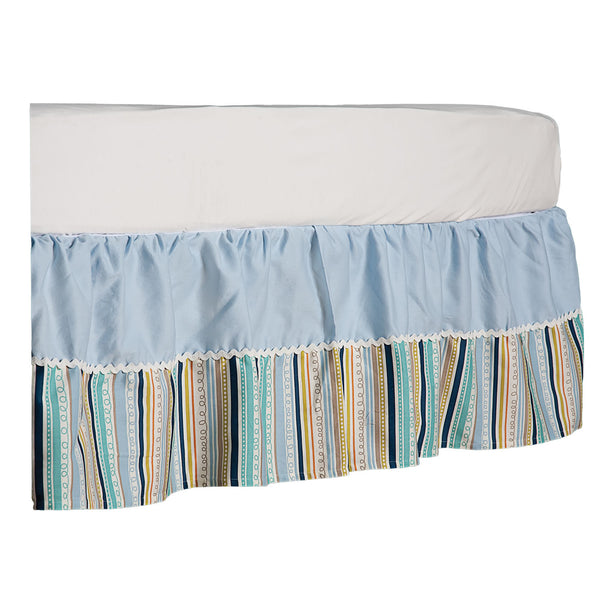 Crib Bed Skirt - Galaxy Stripe/Blue Twill - Living Textiles Co.