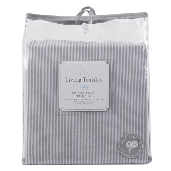 Jersey Fitted Sheet - Grey Stripe - Living Textiles Co.