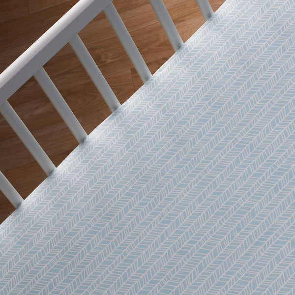 Fitted Sheet - Aqua Herringbone - Living Textiles Co.