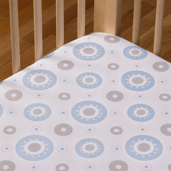 Fitted Sheet - Blue Orbit - Living Textiles Co.