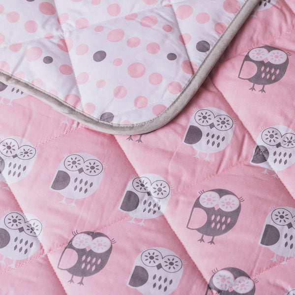 Pink Owl Quilted Comfoter - Living Textiles Co.