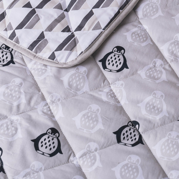 Grey Penguin Quilted Comforter - Living Textiles Co.
