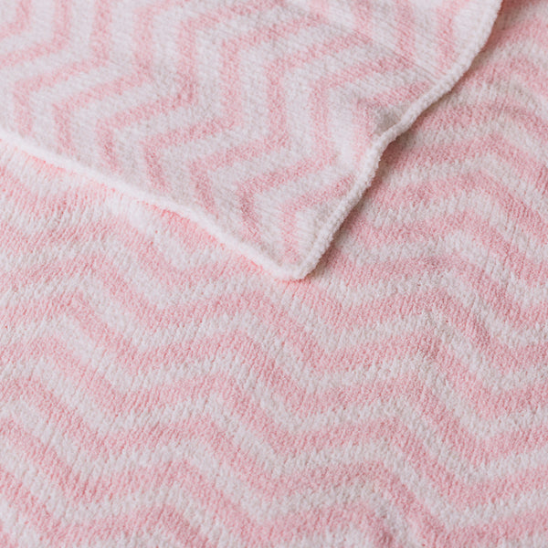 Chenille Blanket - Pink Chevron - Living Textiles Co.