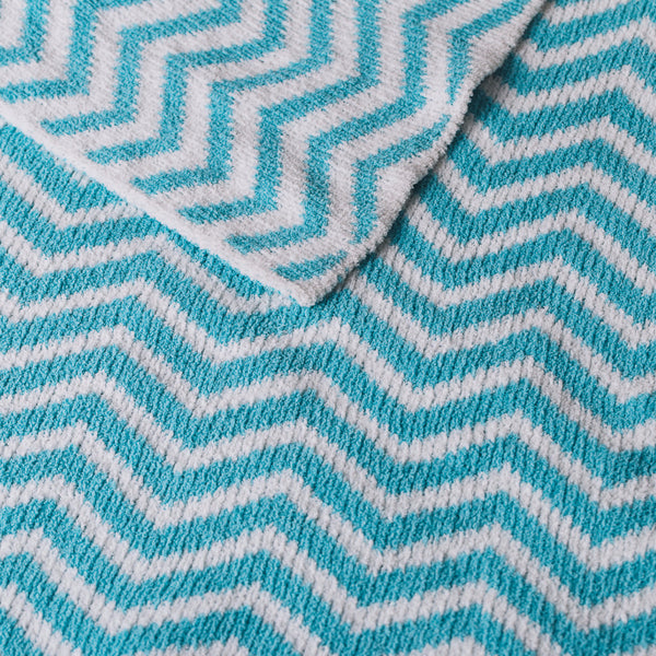 Chenille Blanket - Teal Chevron - Living Textiles Co.
