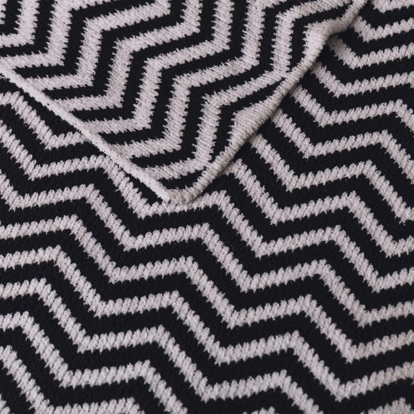 Chenille Blanket - Black Chevron - Living Textiles Co.