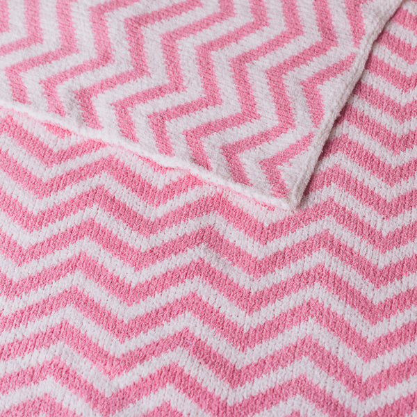 Chenille Blanket - Pastel Pink Chevron - Living Textiles Co.