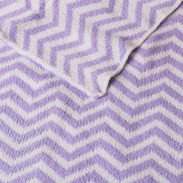 Chenille Blanket - Purple Chevron - Living Textiles Co.