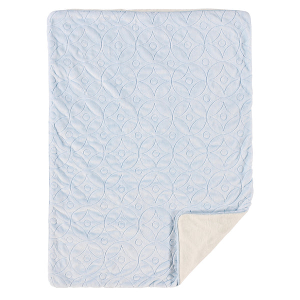 Embroidered Velour Blanket - Blue Skylar - Living Textiles Co.