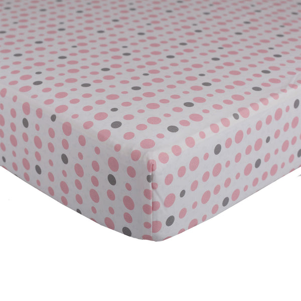 Pink Dots Fitted Sheet - Living Textiles Co.
