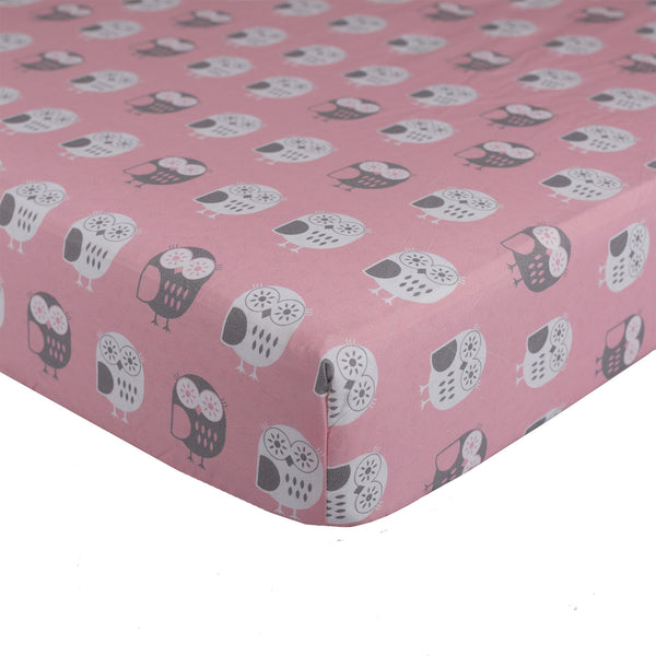 Pink Owl Fitted Sheet - Living Textiles Co.