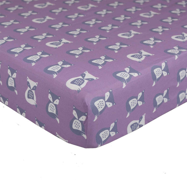 Purple Fox Fitted Sheet - Living Textiles Co.