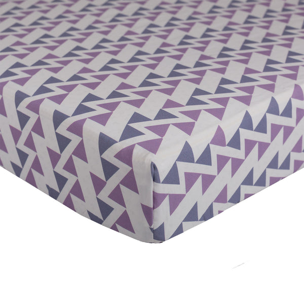 Purple Zigzag Fitted Sheet - Living Textiles Co.