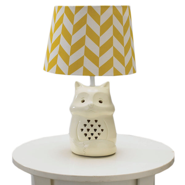 Fox Lamp Base & Amber Herringbone Shade - Living Textiles Co.