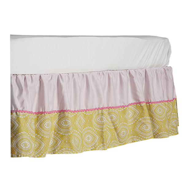 Crib Bed Skirt - Damask/Pink Twill - Living Textiles Co.