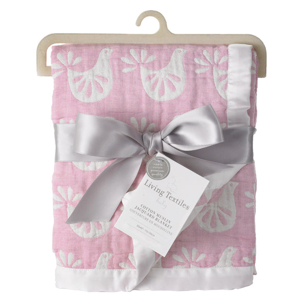 Muslin Jacquard Blanket - Pink Bird - Living Textiles Co.