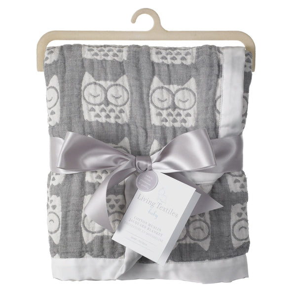 Muslin Jacquard Blanket - Grey Owl - Living Textiles Co.