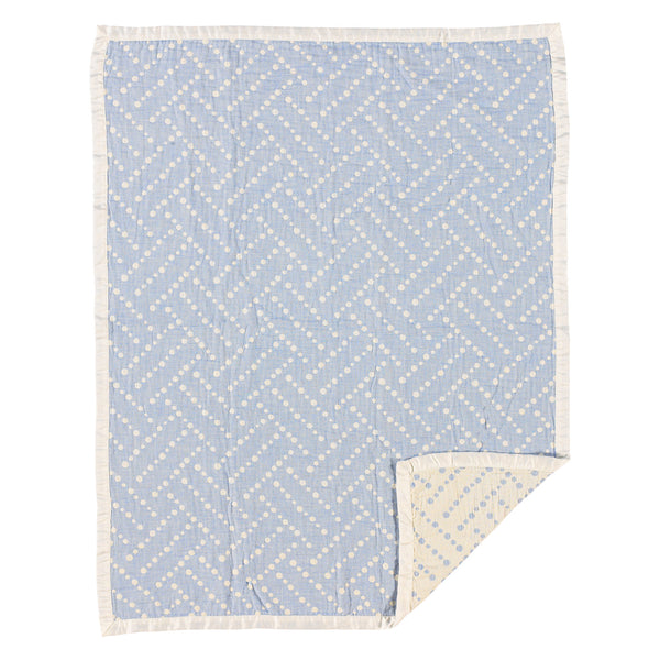 Muslin Jacquard Blanket - Blue Dotted Labyrinth - Living Textiles Co.