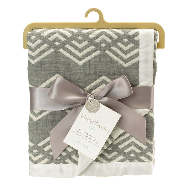 Muslin Jacquard Blanket - Grey Chevron - Living Textiles Co.