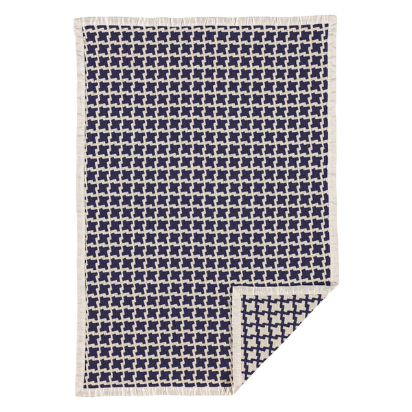 Muslin Jacquard Blanket - Navy Houndstooth - Living Textiles Co.