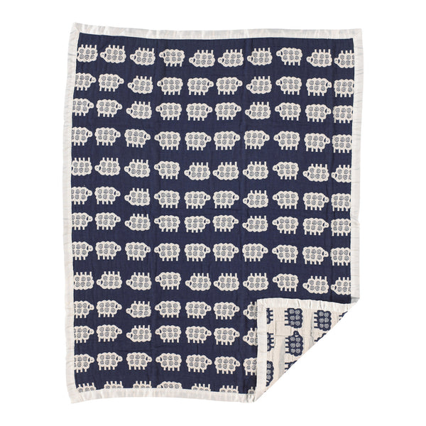 Muslin Jacquard Blanket - Navy Lamb - Living Textiles Co.