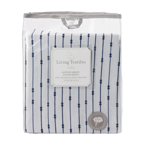 Jersey Fitted Sheet - Navy Beads - Living Textiles Co.