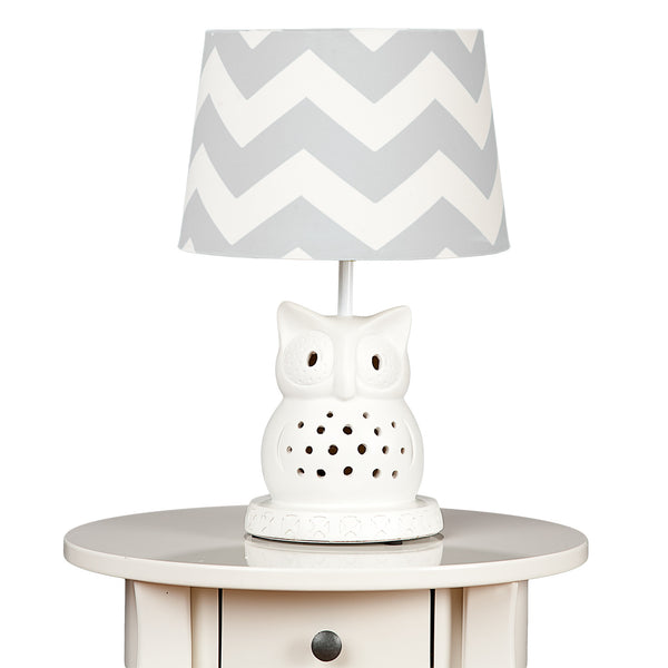 Owl Lamp Base & Grey Zig Zag Shade - Living Textiles Co.