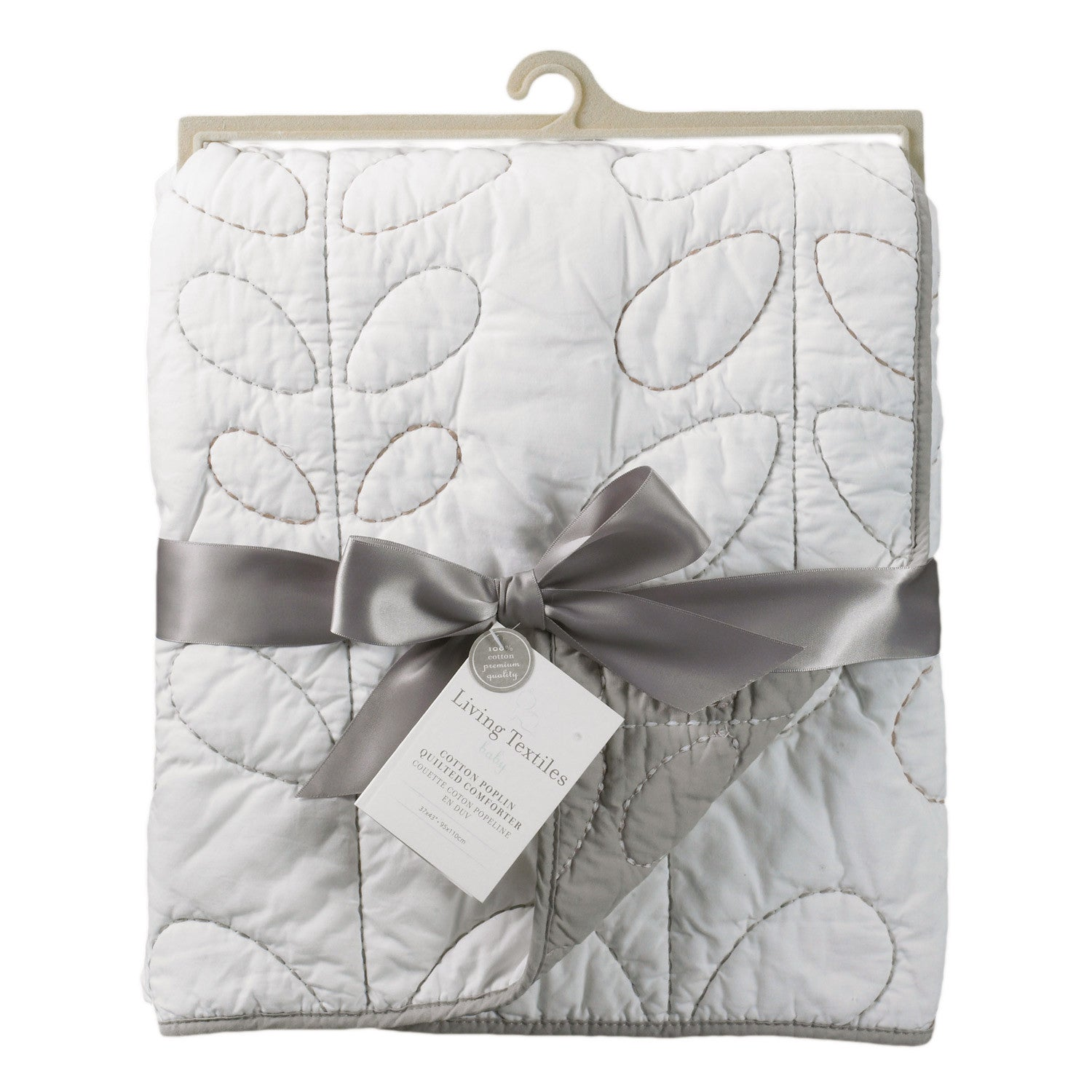 Baby Quilted Comforter - Cotton Poplin White/Grey – Living ... : white quilted comforter - Adamdwight.com