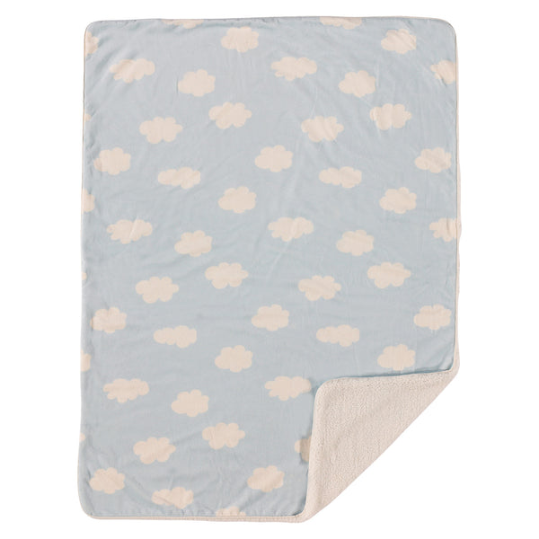 Printed Velour Blanket - Blue Cloud - Living Textiles Co.