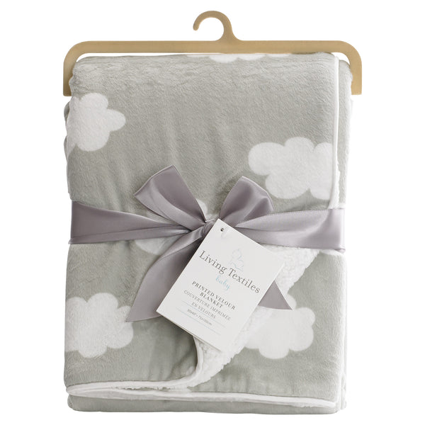 Printed Velour Blanket - Grey Cloud - Living Textiles Co.