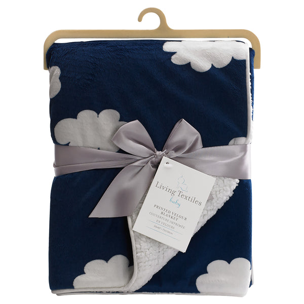 Printed Velour Blanket - Navy Cloud - Living Textiles Co.