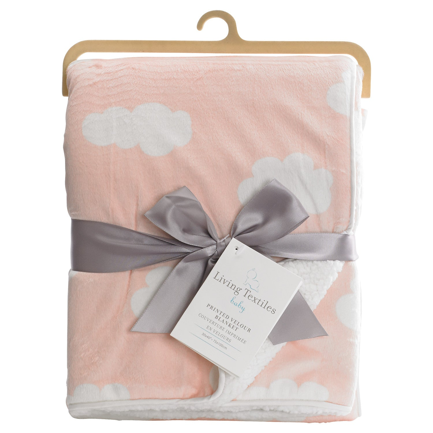 Printed Velour Blanket - Pink Cloud - Living Textiles Co.
