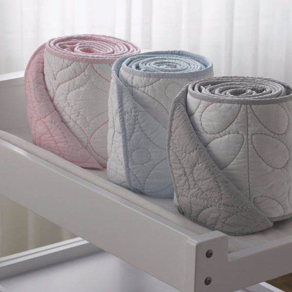 Quilted Bumper - White/Pink - Living Textiles Co.