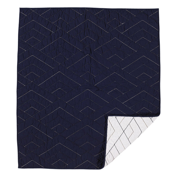 Cotton Poplin Comforter - White/Navy - Living Textiles Co.