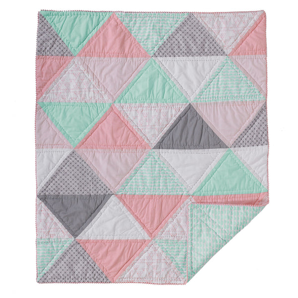 Cotton Filled Comforter - Triangle Patchwork - Living Textiles Co.