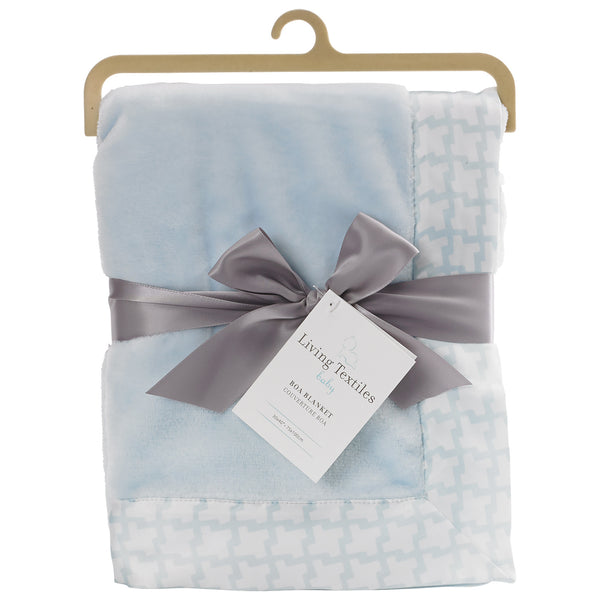 Boa Blanket - Blue Houndstooth - Living Textiles Co.