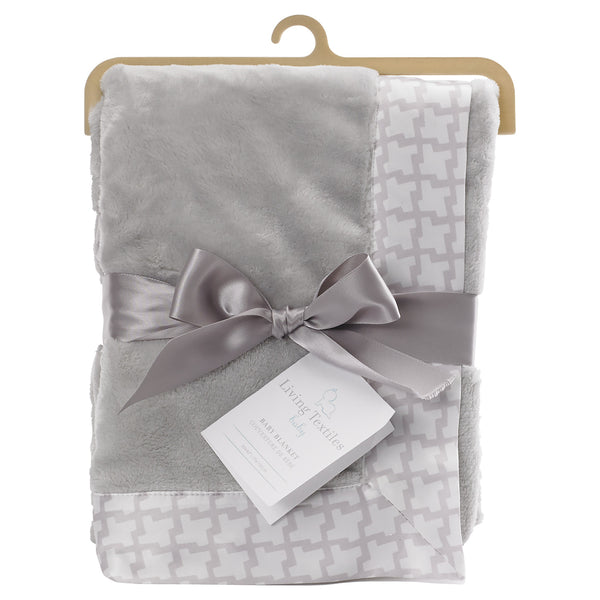 Boa Blanket - Grey Houndstooth - Living Textiles Co.