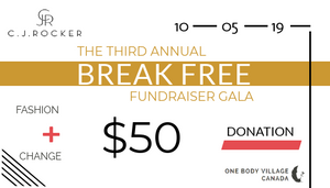 THE 2019 C.J.ROCKER BREAK FREE FUNDRAISER GALA $50 DONATION - C.J.ROCKER