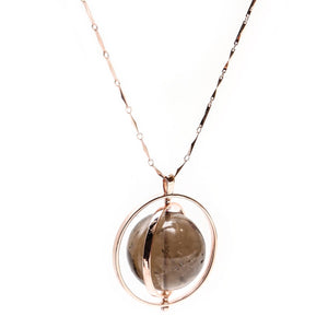 THE ORBITAL NECKLACE GOLD WITH DARK STONE - C.J.ROCKER